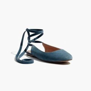 Madewell 'Inga' Blue Suede Lace Up Flats